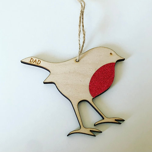 Glittery Red Birch Ply Robin Christmas Decoration (personalisation available)