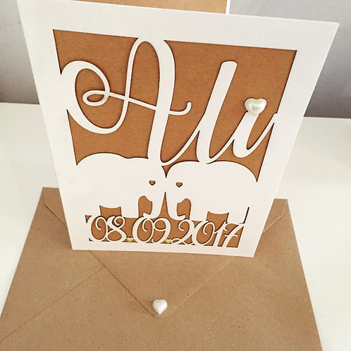 A5 Laser Cut Elephant Couple Anniversary Card Personalised