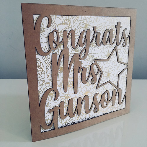 Laser Cut Personalised Congrats Card With Name & Shape of Choice