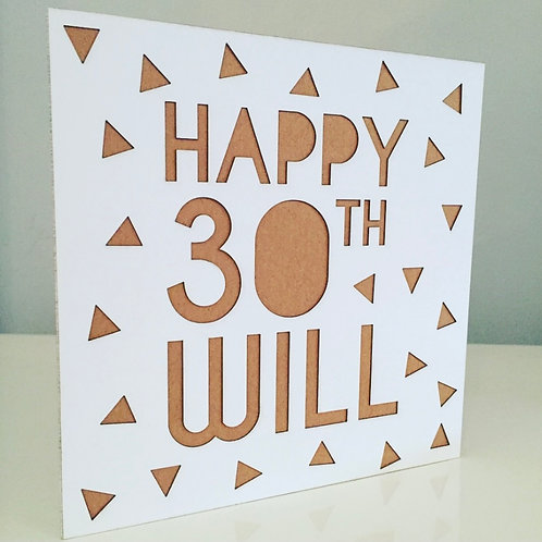 Laser Cut Geometric Birthday Card With Personalised Text
