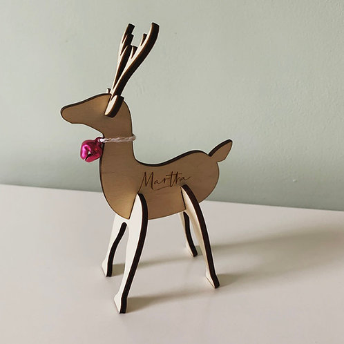 Laser Cut Slot Together Stag Christmas Decoration With Jingle Bell