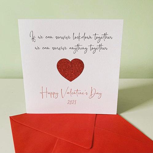 Valentine's Day Surviving Lockdown Red Glitter Heart Card
