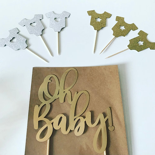 Baby Shower Oh Baby Laser Cut Cake & Cupcake Toppers Bundle