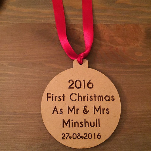 Engraved Personalised First Christmas As Mr & Mrs 2016 Wooden Bauble