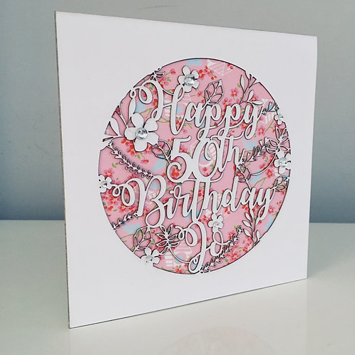 Laser Cut Round Floral Birthday Card With Personalised Text and Diamanté's