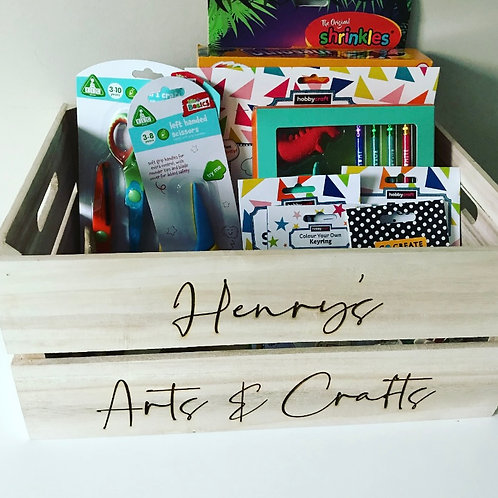 Children's Personalised Arts & Crafts Large Wooden Apple Crate Storage Box