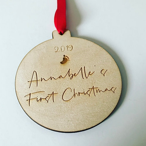 Elegant Engraved Personalised Baby's First Christmas Birch Ply Bauble