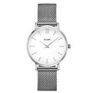 Cluse Damenuhr Quarz Minuit Mesh Silver/White  CL30009