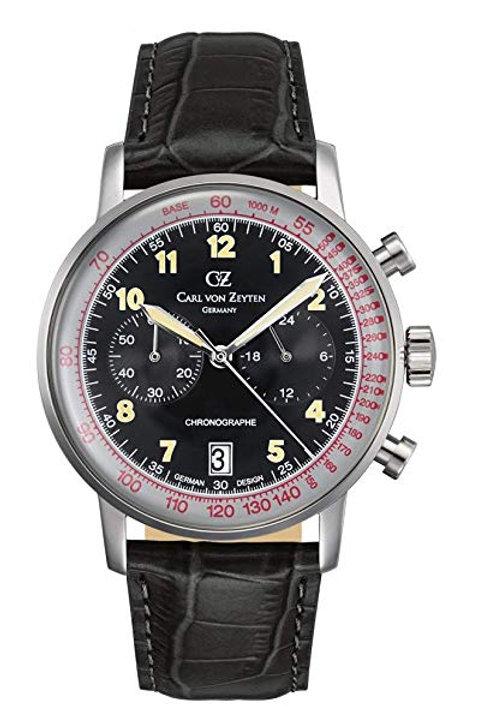 Herren Armbanduhr Chronograph Schwarzenbach Lederband CVZ0020BK