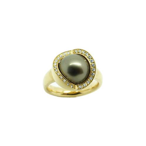 Tahiti Perlenring Gelbgold 750/- Brilantbesatz UP750GG55