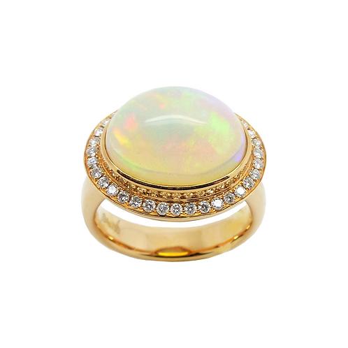 Damenring Gelbgold 750/- mit Opal und Diamantbesatz