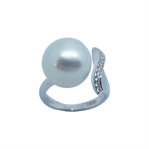 Perlenring Weißgold 750/- Brilantbesatz UP750WG55