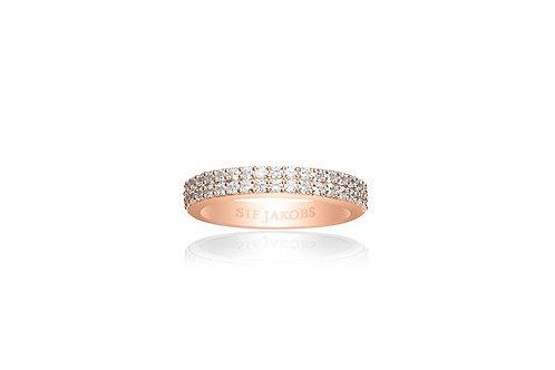 Ring Corte Due - 18K Roségold plattiert mit weißen Zirkonia SJ-R10762-CZ(RG)56