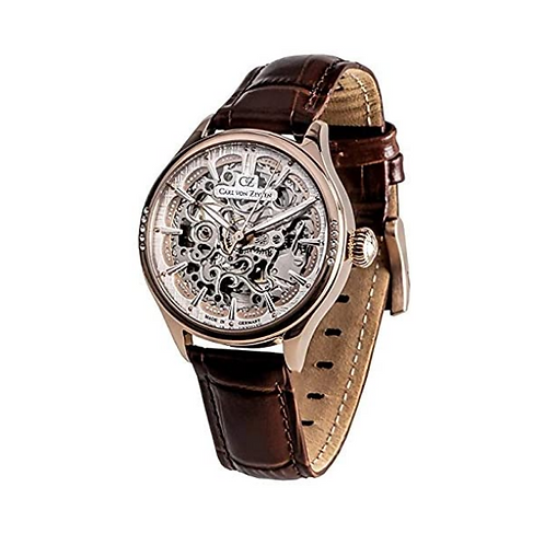Unisex Skeleton Automatik Uhr mit Leder Armband CVZ0057RWH
