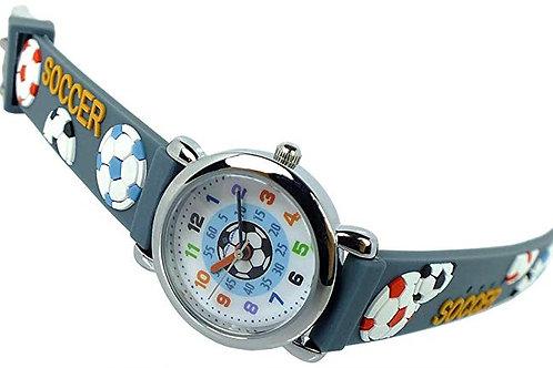 Kinderuhr  grau Armbanduhr Edelstahl Quarzuhr 394G
