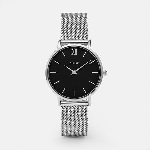 Cluse Damenuhr Quarz Minuit Mesh Silver/Black  CL30015