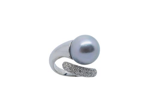 Perlenring Weißgold 750/- Brilantbesatz UP750WG51
