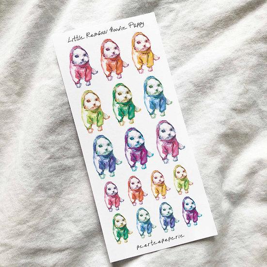 Little Rainbow Hoodie Puppy Stickers