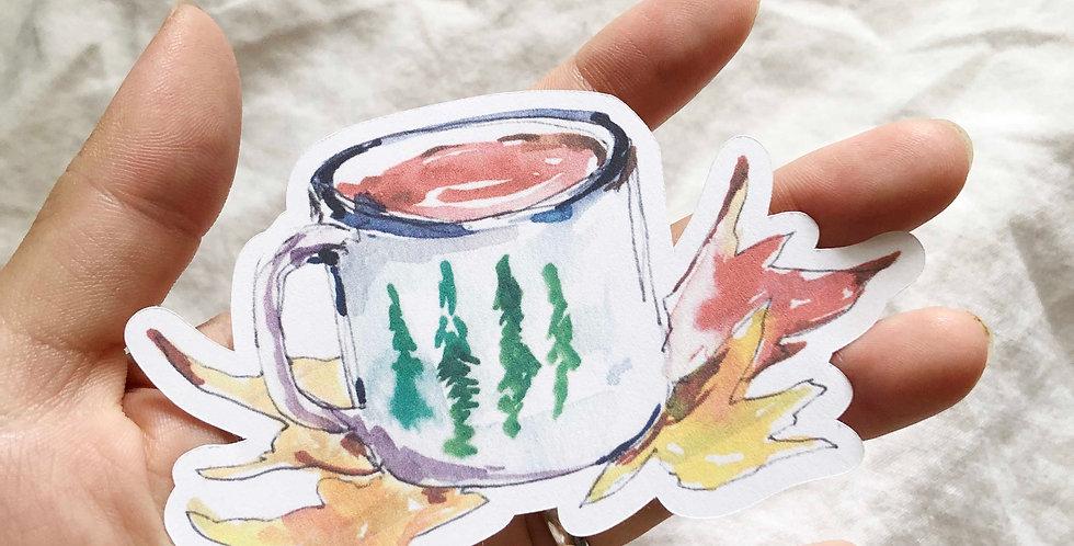 Autumn Tea cup 002 Big Die Cut Sticker
