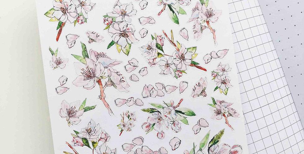 Cherry Blossom Garden Sketch Stickers