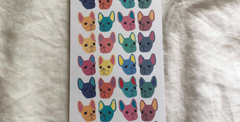 Colorful French Bulldog Face Stickers