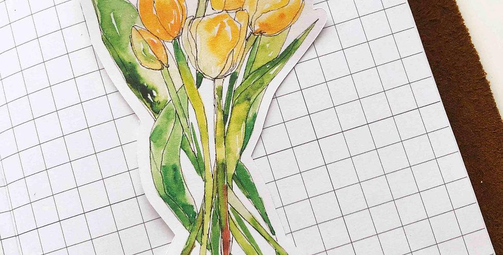 Yellow Tulip Bunch Big Die Cut Sticker
