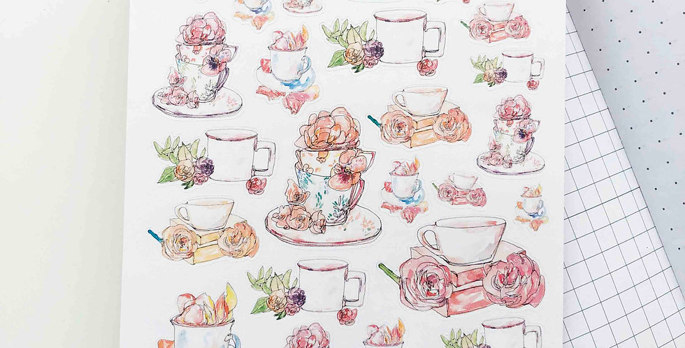Watercolored Spring Cafe Stickers
