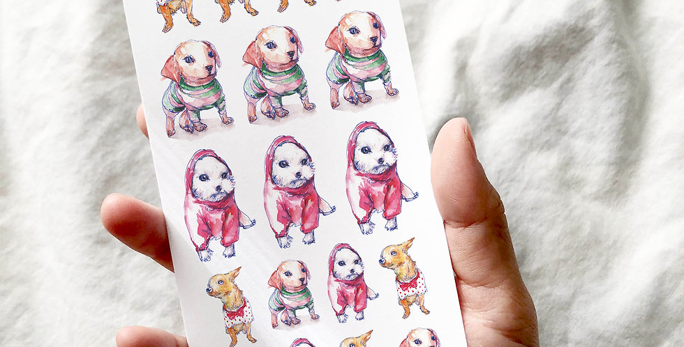 Winter Look Puppies Stickers