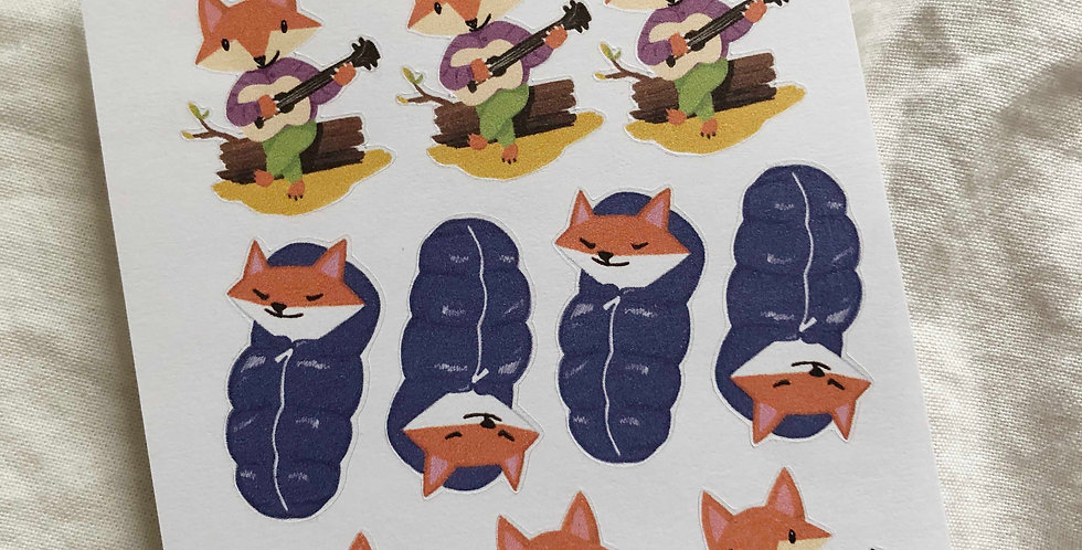 Camping with Fox Stickers (Slim Sheet)