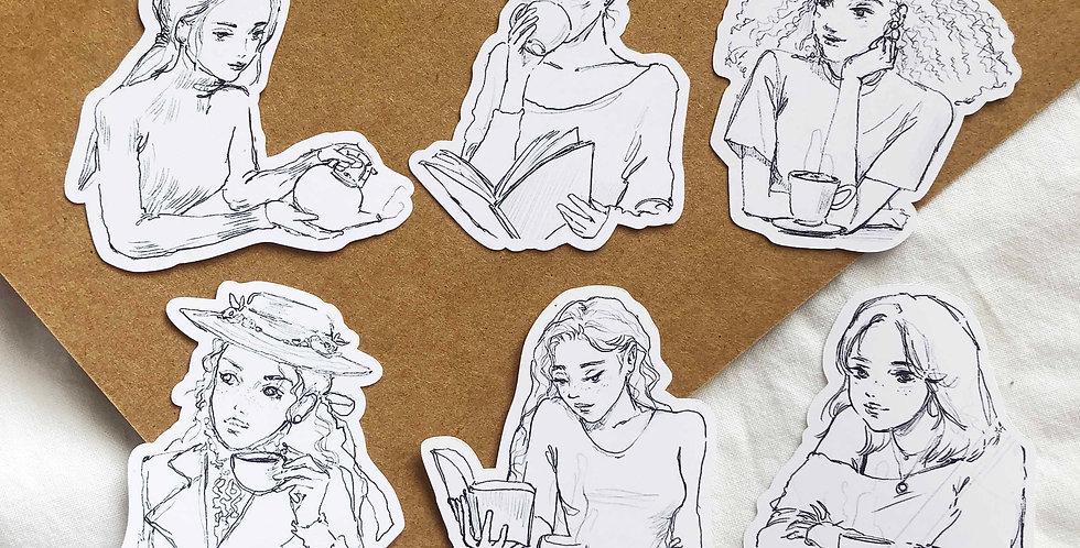 Tea time girls Stickers - Upper Body Ver.