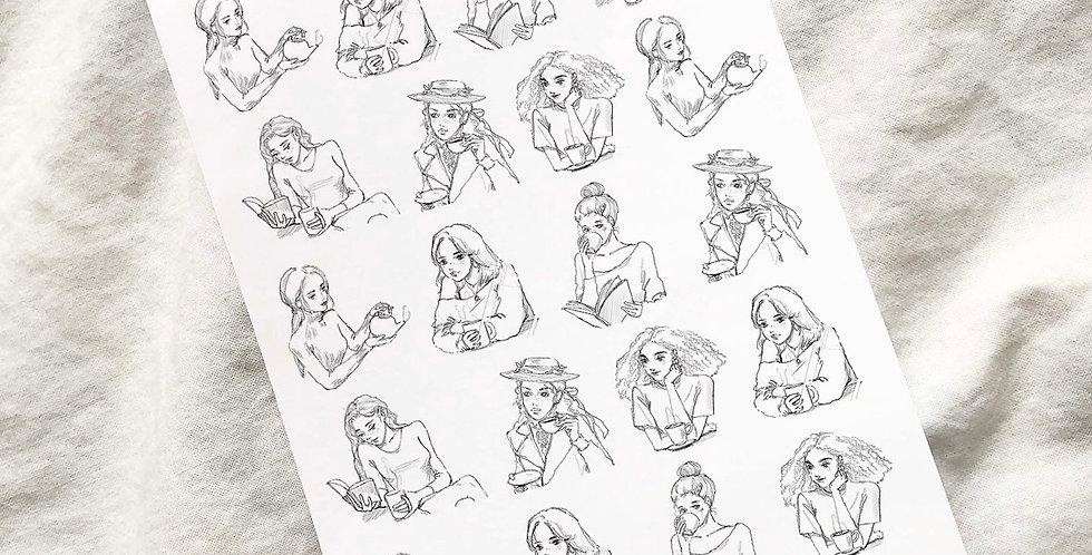 Mini Tea time Girls Stickers Upper Body Ver. - 4 Skin tones