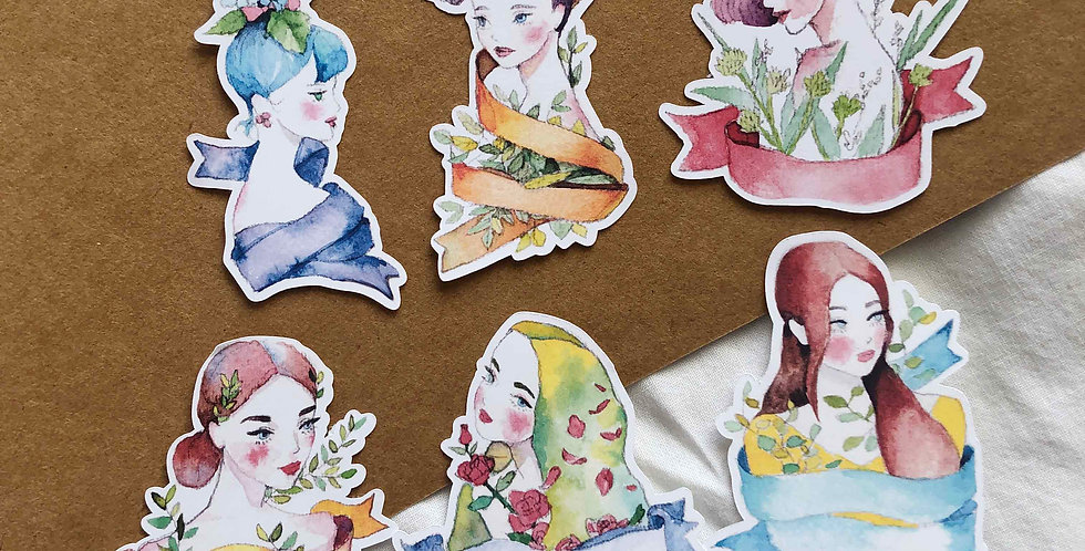 Watercolored Spring Girls Stickers