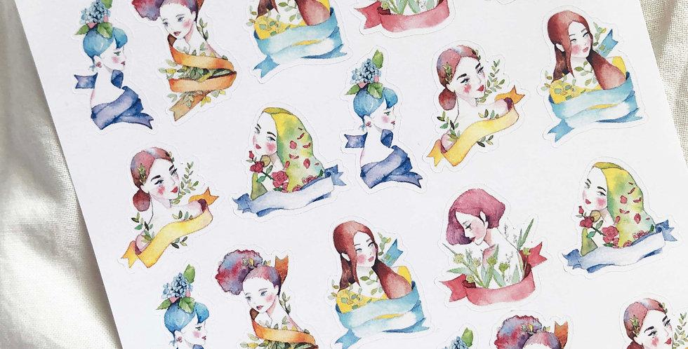 Mini Watercolored Spring Girls Stickers