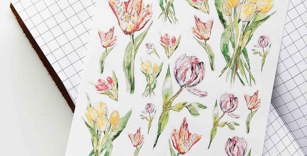 Tulip Garden Sketch Stickers