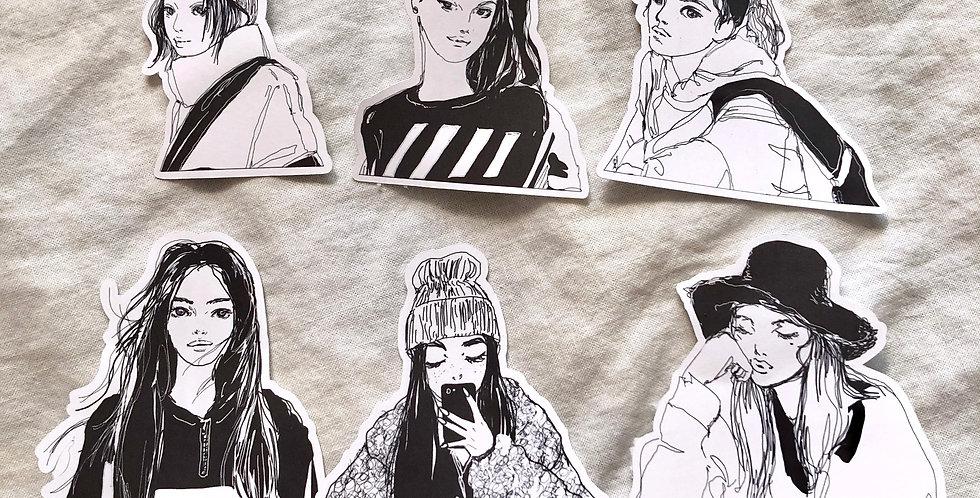 Comfy Look Girl Stickers ( Upper Body )