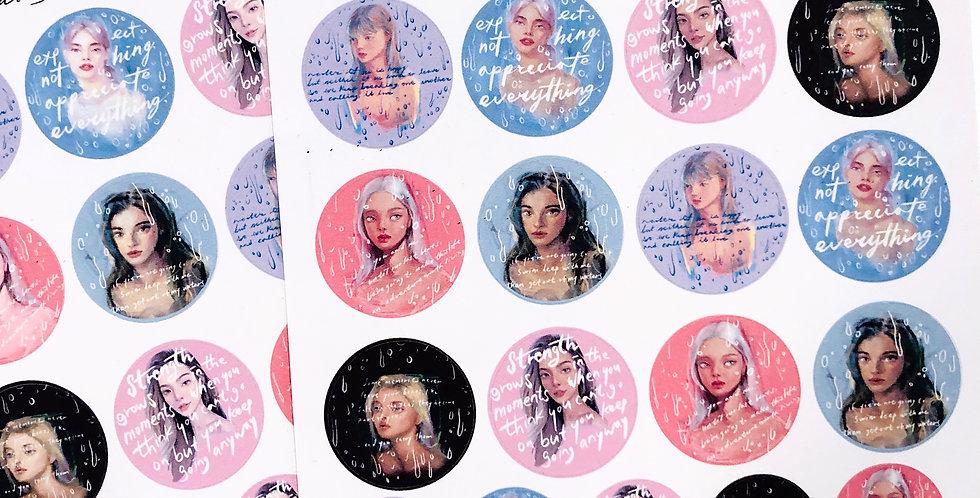 Mini Rainy Day Mood Girls Stickers
