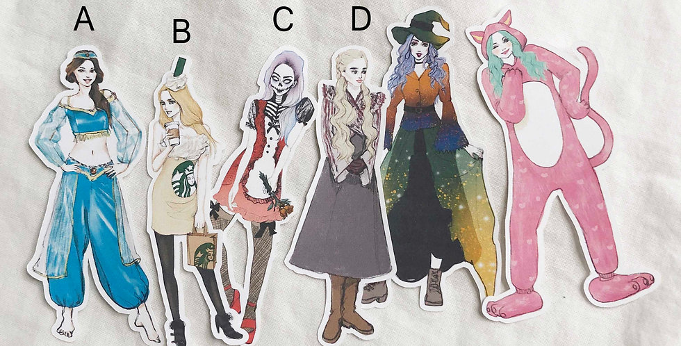 Halloween Fashion Girls Stickers - Whole Body Ver.