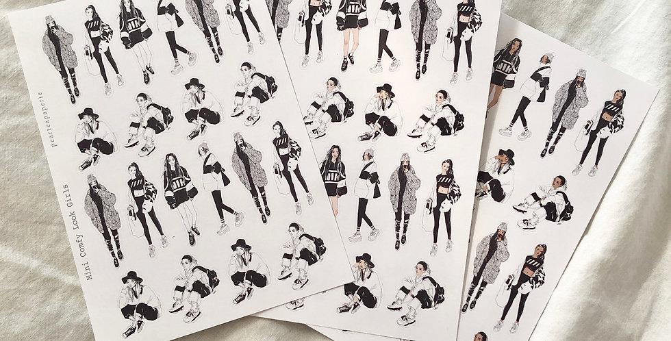 Mini Comfy Girls Stickers - Whole Body