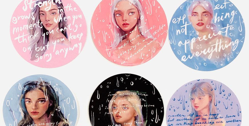 Rainy Day Mood Girl Stickers