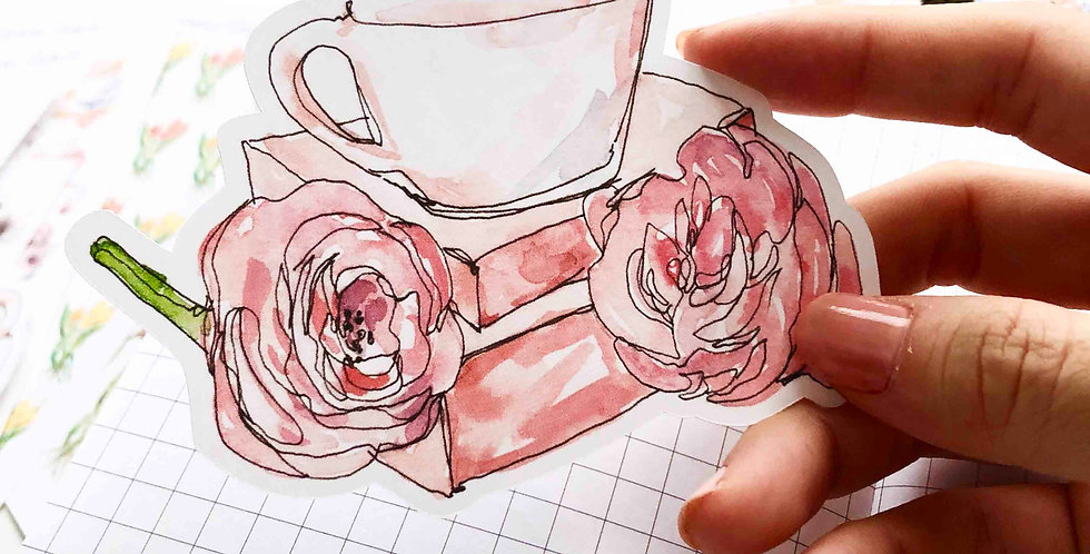 Spring Cafe Tea cup Big Die Cut Sticker 002