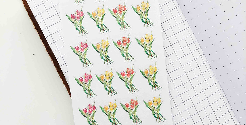 Watercolored Tulip Bunches Stickers