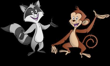 raccoon and monkey cartoon
