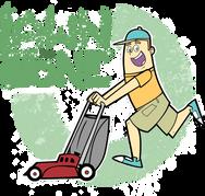 lawn mower cartoon gardener