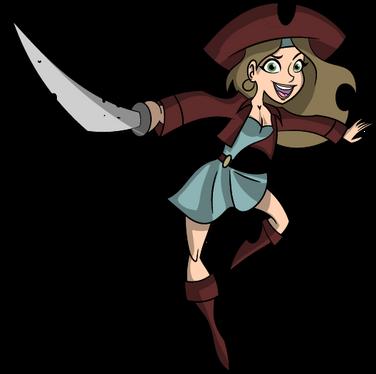 Pirate girl cartoon character