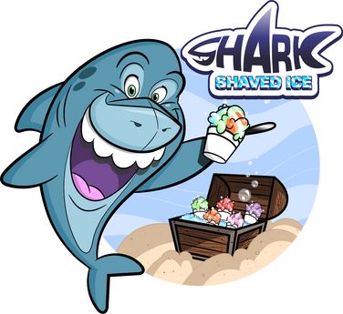 shark with shaved ice cartoon character