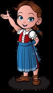 cute european girl cartoon