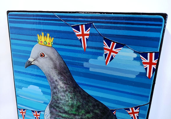 Brexit Day Pigeon, Close up, Acyrlic on