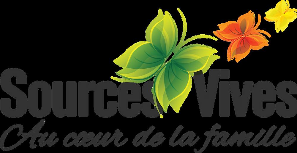 Logo Sources Vives au coeur de la famille avec trois papillons