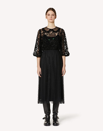 Red Valentino - Top in Tulle Flock Motivo Leo Panther