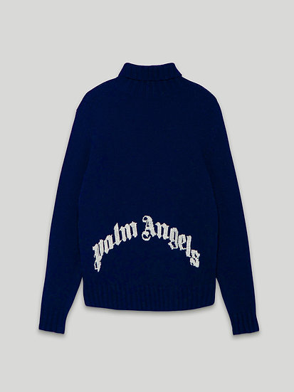 PALM ANGELS CURVED LOGO TNECK SWEATER REC